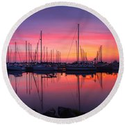 Bayfield Wisconsin Magical Morning Sunrise Round Beach Towel