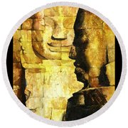 Bayon Khmer Temple At Angkor Wat Cambodia Round Beach Towel