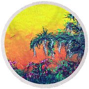 Round Beach Towel featuring the painting Bayou Honeymoon by Alys Caviness-Gober