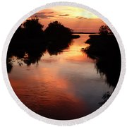 Bayport Sunset Round Beach Towel