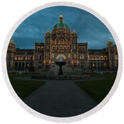 Bc Government Buildings At Dusk Round Beach Towel