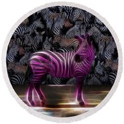 Be Courageous - Be Different - Zebra Round Beach Towel
