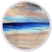Round Beach Towel featuring the painting Be Near by Meaghan Troup