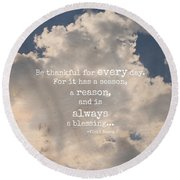 Be Thankful Round Beach Towel