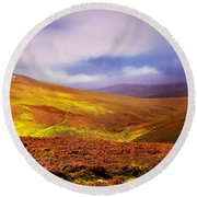 Be There The Light. Wicklow Hills Round Beach Towel by Jenny Rainbow