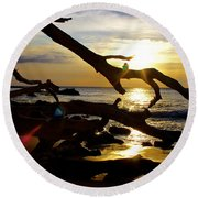 Beach 69 Hawaii At Sunset Round Beach Towel by Venetia Featherstone-Witty