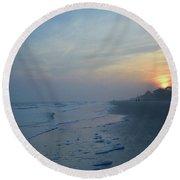 Beach And Sunset Round Beach Towel