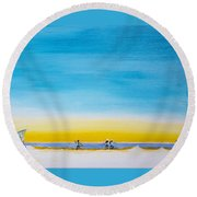 Round Beach Towel featuring the painting Surfers On The Beach by Ben Gertsberg