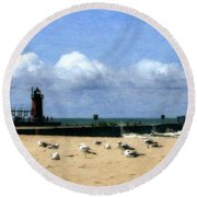 Beach At South Haven  Round Beach Towel by Michelle Calkins