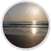 Beach At Sunrise Round Beach Towel
