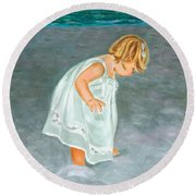 Beach Baby In White Round Beach Towel