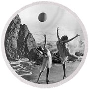 Beach Ball Dancing Round Beach Towel by Underwood Archives