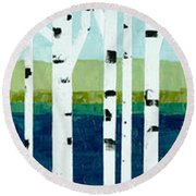 Beach Birches Pano Round Beach Towel