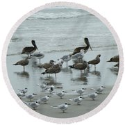 Beach Birds Round Beach Towel