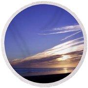 Beach Blue Sunset Round Beach Towel