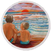 Beach Buddies II Round Beach Towel