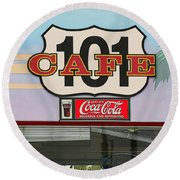 Beach Cafe Round Beach Towel by Art Block Collections