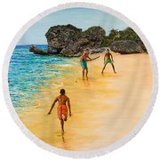 Beach Cricket Round Beach Towel by Victor Collector