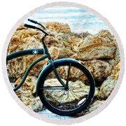 Beach Cruiser - Bicycle Art By Sharon Cummings Round Beach Towel