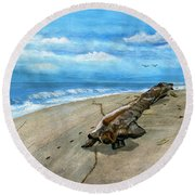 Round Beach Towel featuring the painting Beach Drift Wood by Melly Terpening