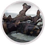 Beach Driftwood In Color Round Beach Towel