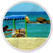 Beach Entrepreneur In San Jose Del Cabo Round Beach Towel