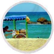 Beach Entrepreneur In San Jose Del Cabo Round Beach Towel