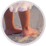 Round Beach Towel featuring the photograph Beach Feet  by Nava Thompson