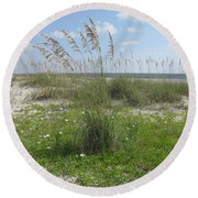 Beach Flowers And Oats 2 Round Beach Towel