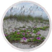 Beach Flowers Round Beach Towel
