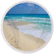 Beach Footprints Round Beach Towel