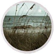 Beach Grass Oats Round Beach Towel