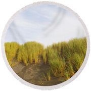 Beach Grass On Sand, Pistol River State Round Beach Towel