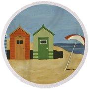 Beach Huts Round Beach Towel