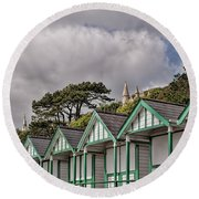 Beach Huts Langland Bay Swansea 3 Round Beach Towel by Steve Purnell