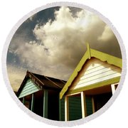 Round Beach Towel featuring the photograph Beach Huts by Vicki Spindler