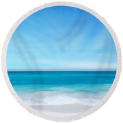 Beach In The Morning Round Beach Towel