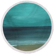 Beach Morning- Abstract Landscape Round Beach Towel