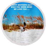 Beach Mother Round Beach Towel by Belinda Lee