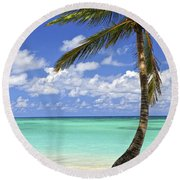 Beach Of A Tropical Island Round Beach Towel by Elena Elisseeva