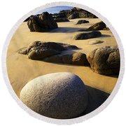 Beach Of Gold Round Beach Towel