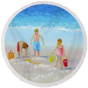 Beach Painting - Sandcastles Round Beach Towel