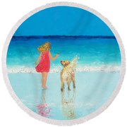 Beach Painting 'sunkissed Hair'  Round Beach Towel