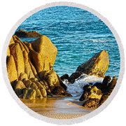 Beach Rocks Round Beach Towel