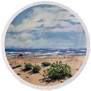Beach Scene On Galveston Island Round Beach Towel