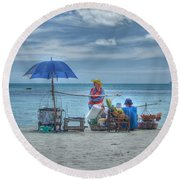 Beach Sellers Round Beach Towel by Michelle Meenawong