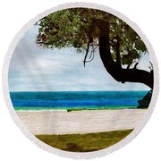 Round Beach Towel featuring the drawing Beach Side by D Hackett