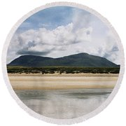 Beach Sky And Mountains Round Beach Towel