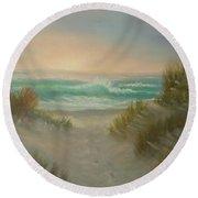 Cape Cod Beach Sunset Dunes Print  Round Beach Towel