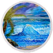 Round Beach Towel featuring the painting Beach Sunset In Hawaii by Jenny Lee
